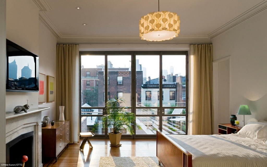Brooklyn Heights Gothic Revival bedroom, glass wall bedroom