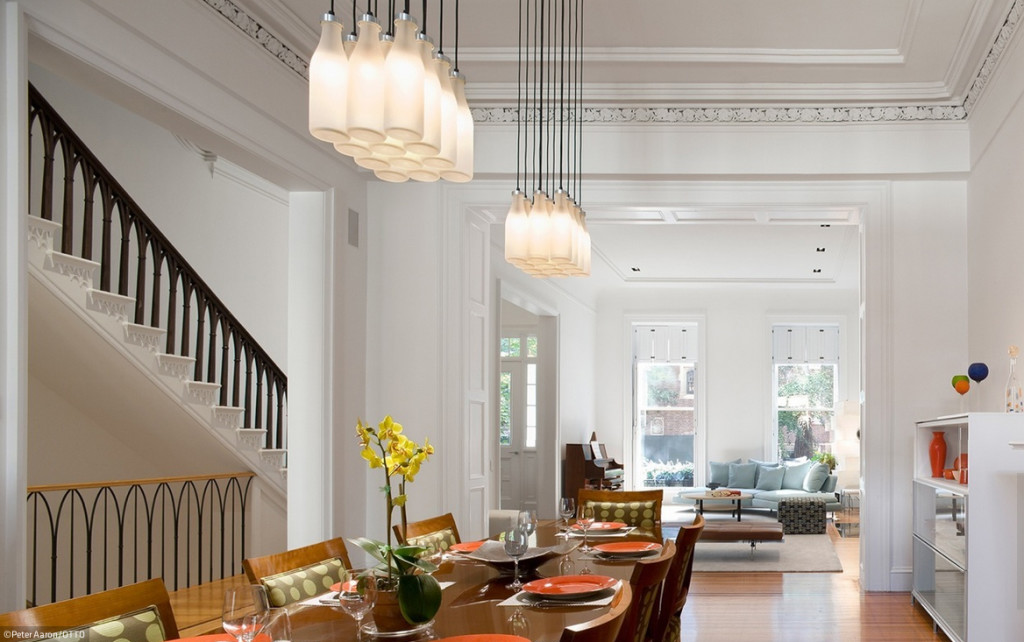 Brooklyn Heights Gothic Revival, dining room, original steel table