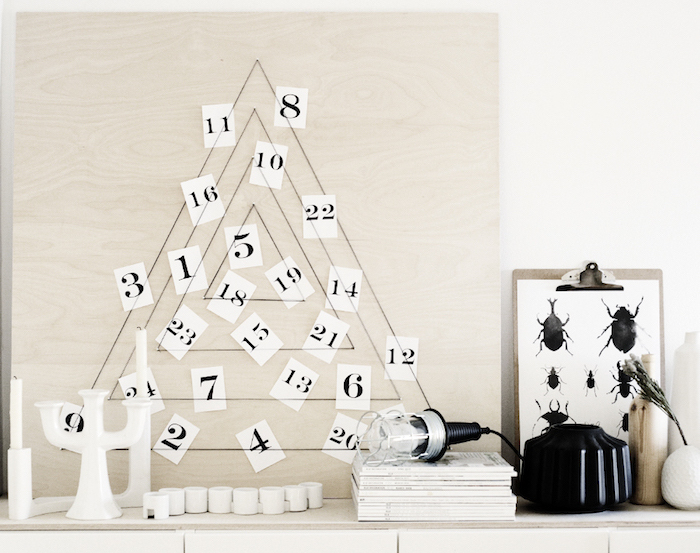modern trees, holiday, xmas, DIY tree, advent calendar, weekdaycarnival