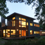 Martin Architects, North Haven, Peconic Residence, assemblage of volumes, sustainable home, Japanese garden, house with waterfall, recycled materials,