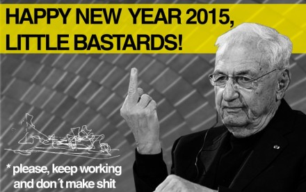 architecture holiday cards, frank ghery middle finger