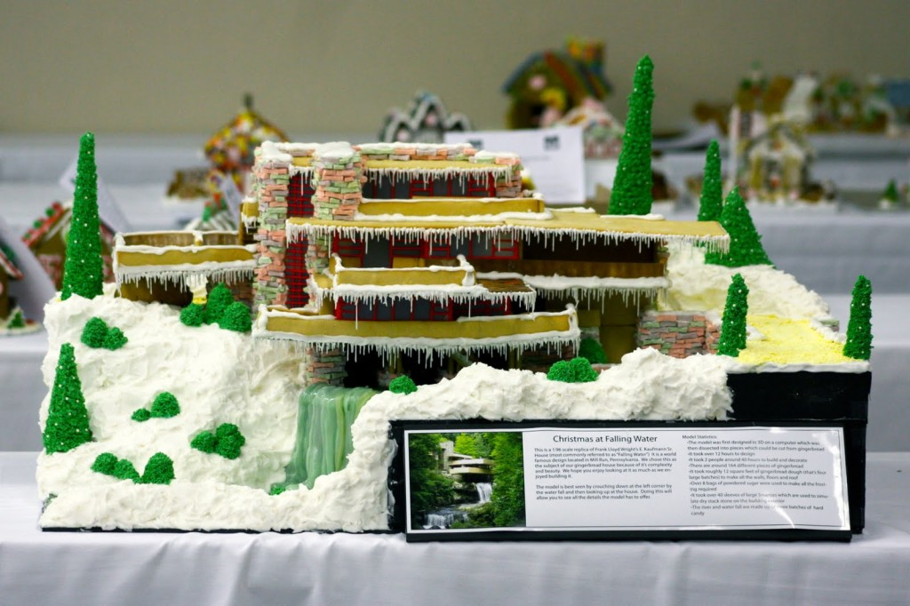 gingerbread, fallingwater, frank lloyd wright, modernist architecture, holiday, Garden Melodies
