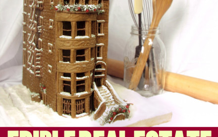 gingerbread brownstone, edible real estate, gingerbread houses