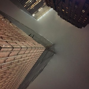 Looking up at One World Trade architecture rain nyc fidi