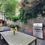 241 Sacket Street, landscaped garden with playhouse, renovated townhouse with green bathroom