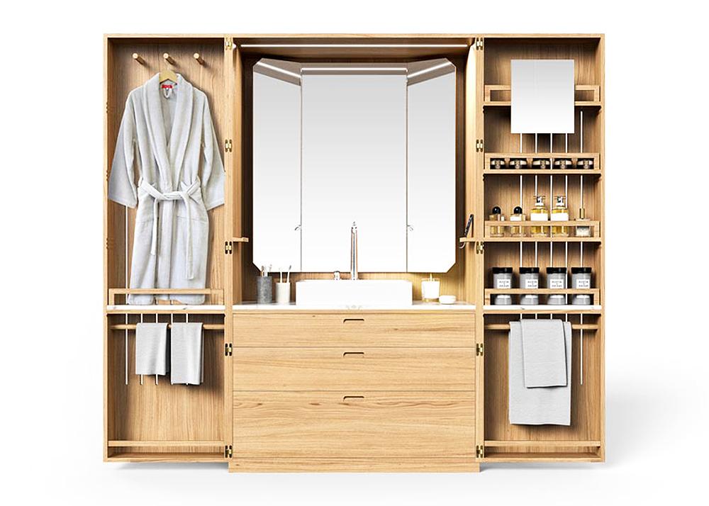 Line Art, La Fonction, space saving bathroom, La Cabine, Hidden Bathroom, Elegant Oak Wardrobe, neat organization, integrated USB plugs, LED lights, ensuite bathroom