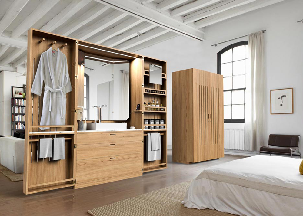 La cabine a hidden bathroom inside an elegant oak for Bathroom wardrobe designs