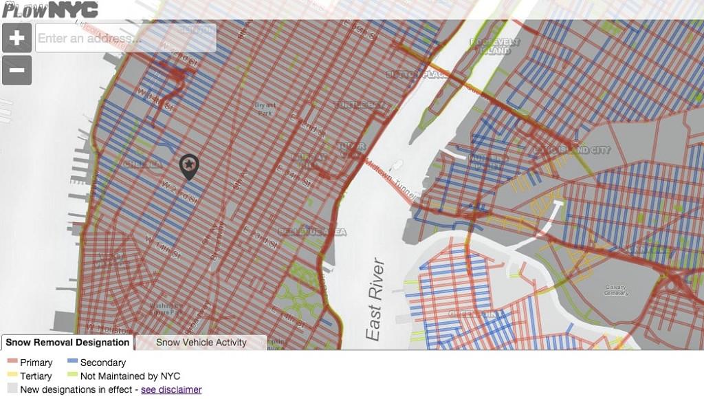 PlowNYC, NYC Department of Sanitation, snow storm maps