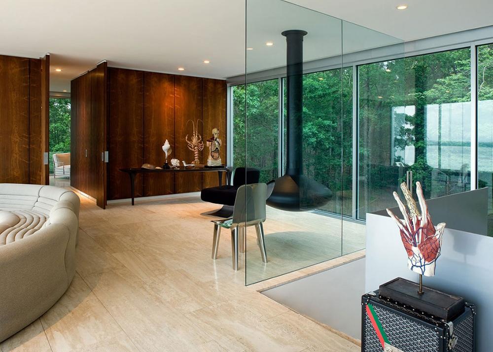 Stuart Parr Design, Ultra Contemporary, Clearhouse, raised home, on stilts, Peconic Bay, Shelter Island, glazed home, glass skin, daylight