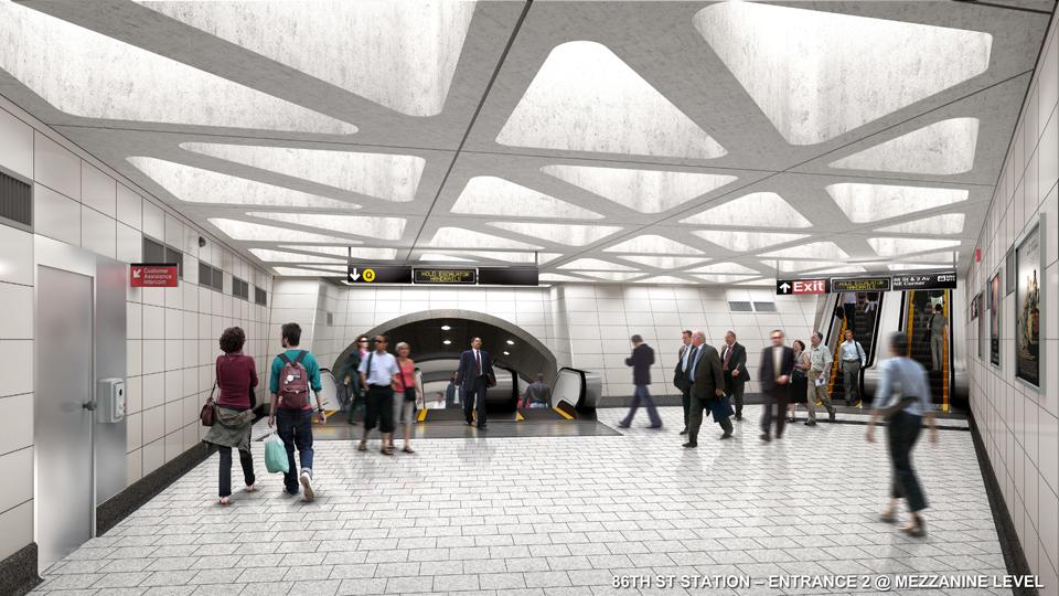 86th street station, subway entrance, sas rendering