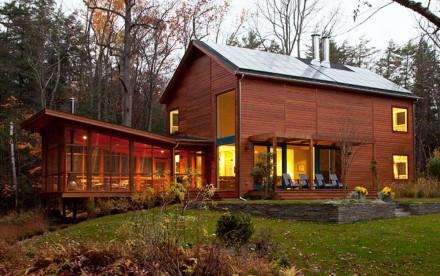 CWB Architects, Bug Acres, cedar wood, glazed porch, Woodstock, bringing nature inside, granite rock garden, woodland retreat,