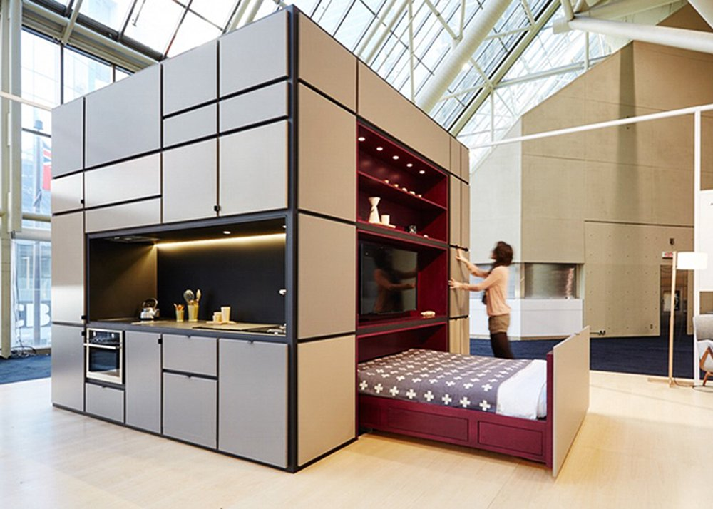 Cubitat sleek plug and play unit shelters a kitchen for Modular living space
