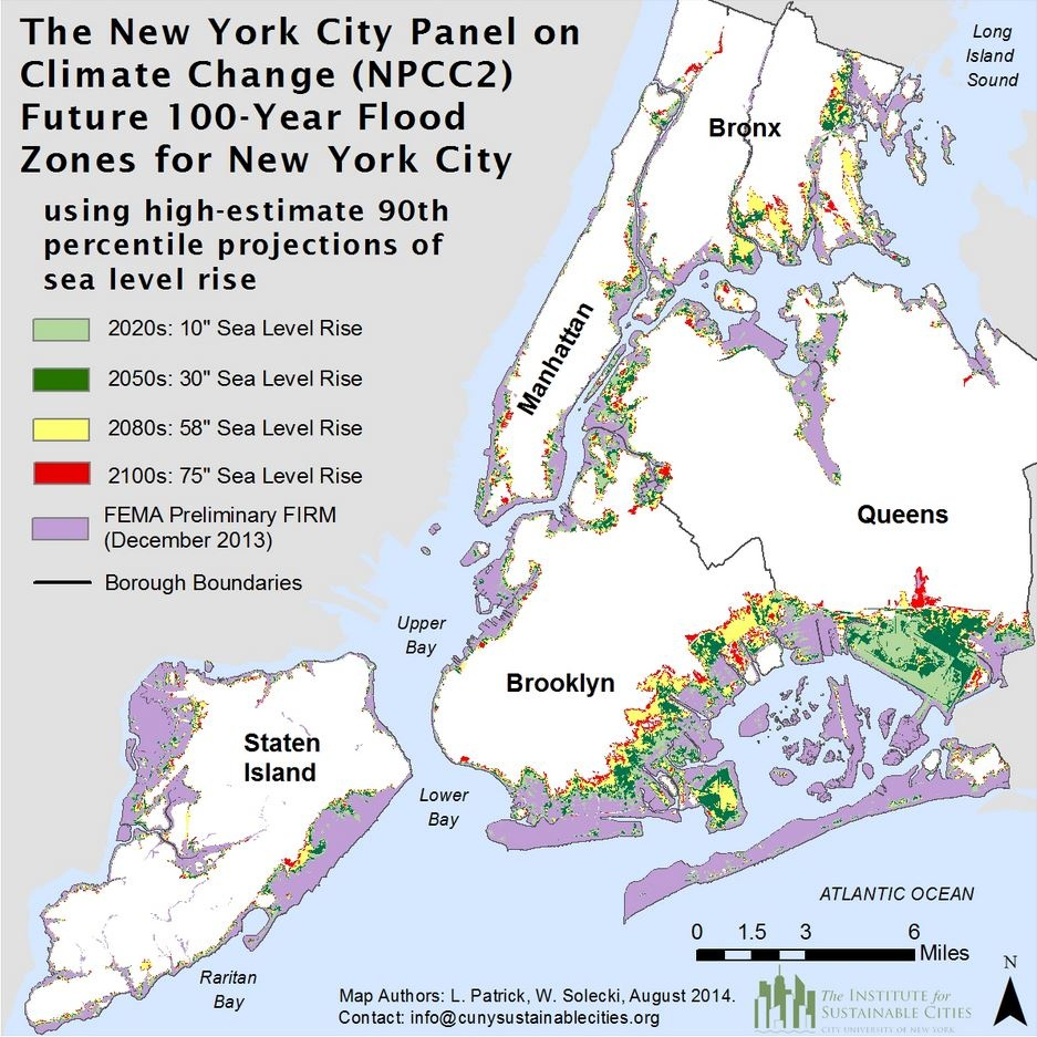 NYC Climate Change Map, rising sea levels, New York City Panel on Climate Change