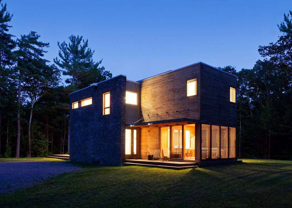 Resolution: 4 Architecture, wood and stone, prefab home, Catskills Suburban, Catskills, stone fireplace, modules, Re4a