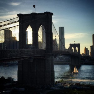 The Brooklyn Bridge at dusk brooklyn DUMBO icons nyc landmarkshellip