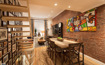 18 East 63rd Street, Upper East Side Historic District, exposed brick walls, renovated triplex townhouse