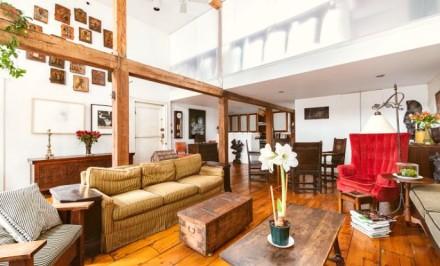 289 Bleecker Street, double-height ceilings, whitewashed exposed brick, refinished original wide plank hardwood floors