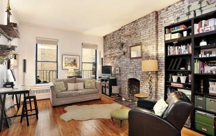 316 West 82nd Street, prewar details, exposed brick, decorative fireplace