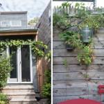 162 10th Street, charred hemlock shou sugi ban, Baltic Birch shelves, corrugated steel rear façade from old barn