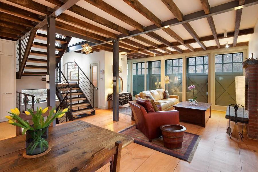 Renovated carroll gardens carriage house comes with a for Carriage house flooring