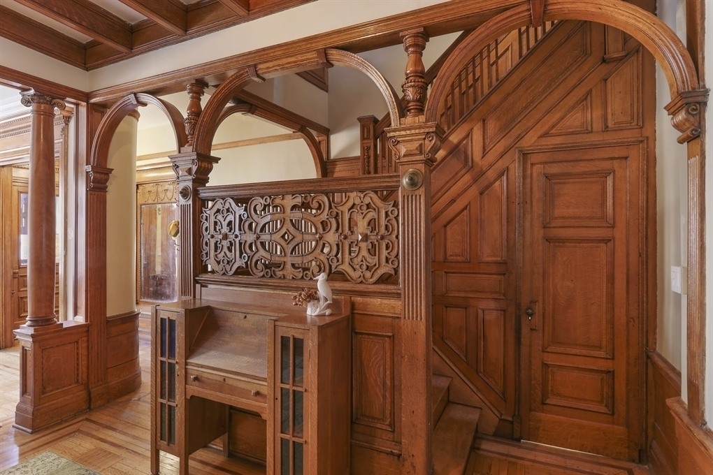 51 Midwood Street, William A.A. Brown, William M. Miller, grand center stair with arches and chinoiserie lattice work