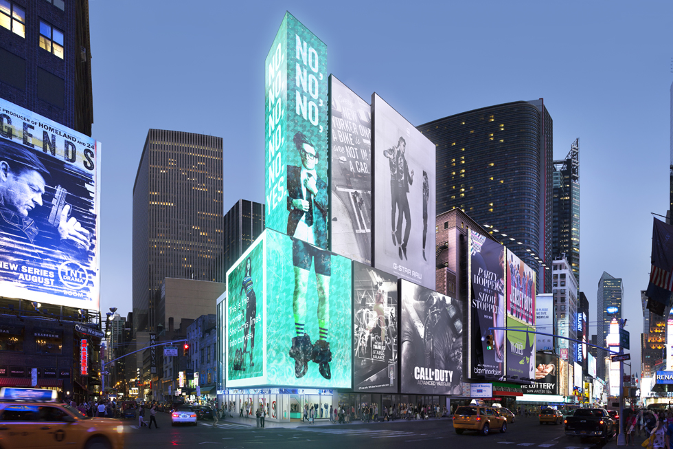 revealed sl green to build another times square spectacular at 719 seventh avenue 6sqft. Black Bedroom Furniture Sets. Home Design Ideas