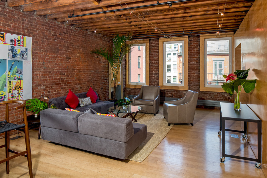 faux ceiling beams ideas - Exposed Brick Abounds in This Full Floor Soho Loft Renting
