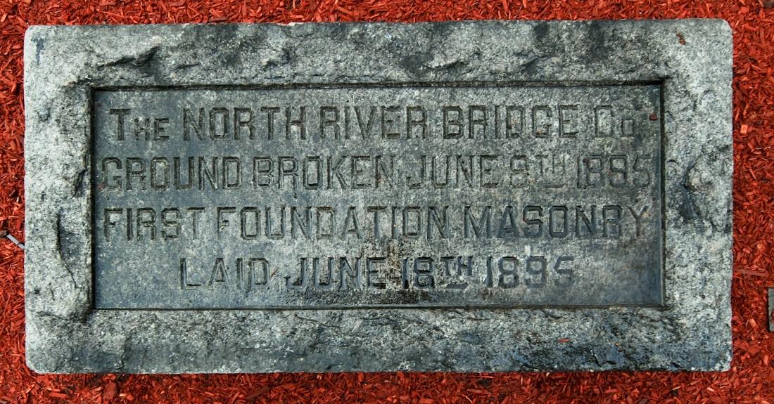 Hudson River Bridge cornerstone in Hoboken