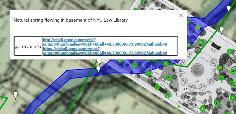 WSP Eco Map, Washington Square Park, NYC tree maps, Minetta Brook