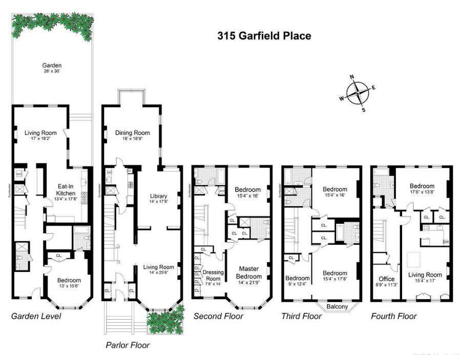 6sqft 315 Garfield Place Floorplan