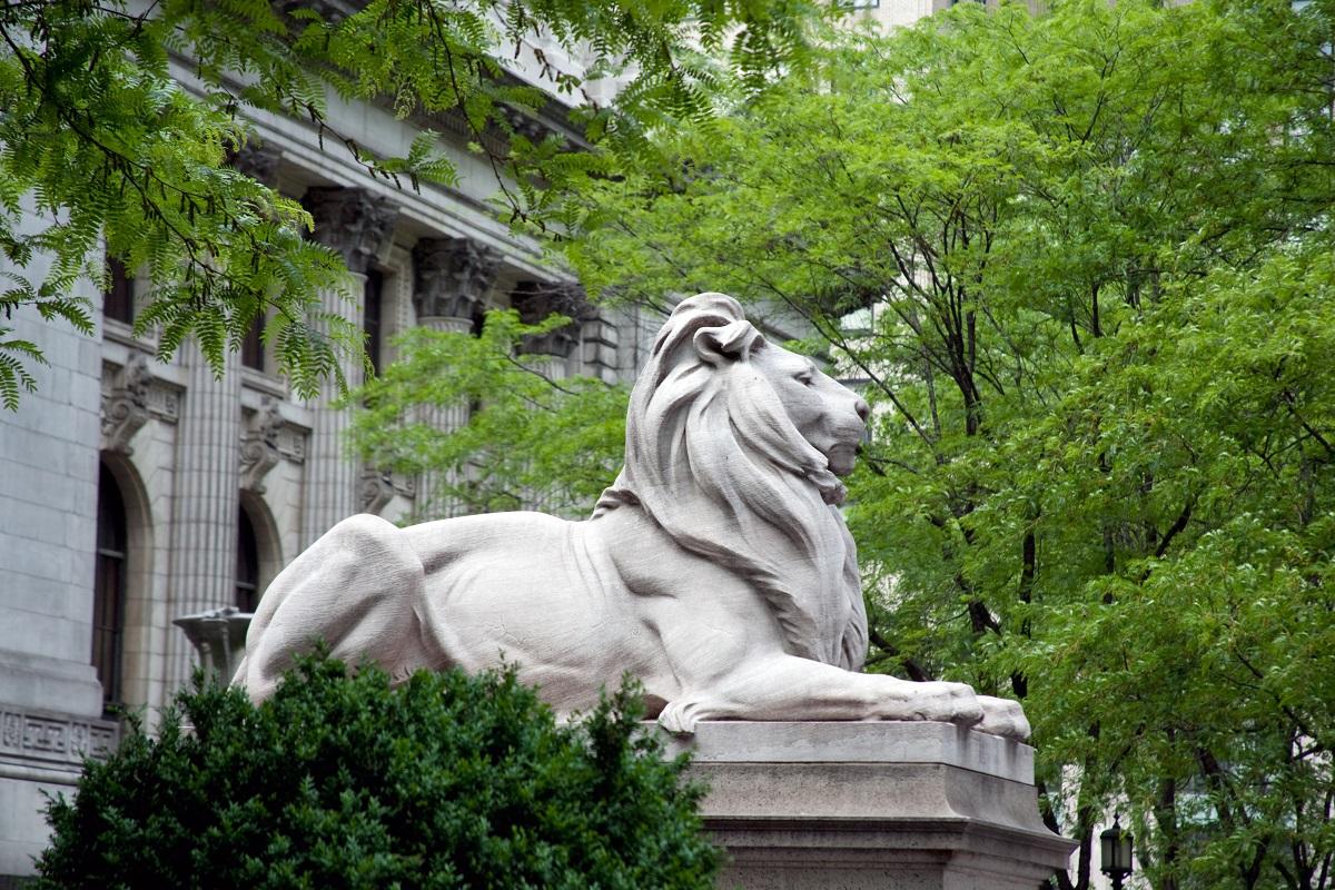 NYPL lion sculpture, Edward Clark Potter, New York Public Library