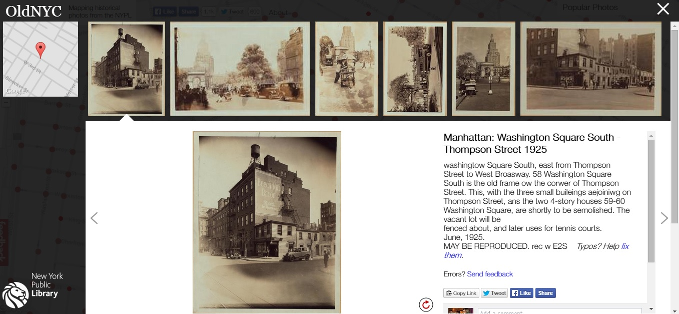 OldNYC, New York Public Library, NYPL Labs, Dan Vanderkam, NYPL Milstein Collection,