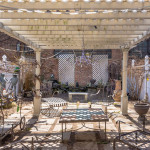 166 Lefferts Place, wedding cake details, koi pond