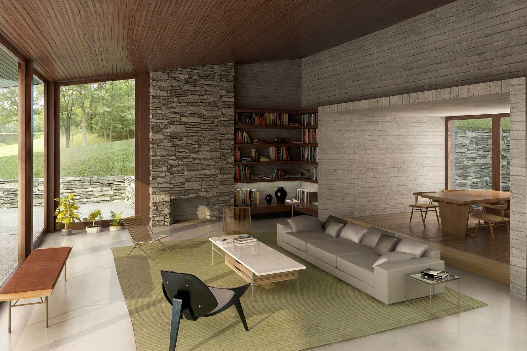 Aklitsch / Gardner Architects, burnt old house, Gambaccini Residence, masonry basement, dry-stone wall, 'dematerialization' concept, Hudson River, Upstate New York, glazed wall