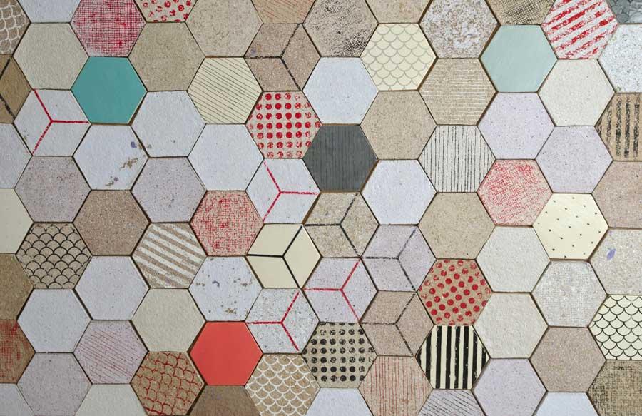 Dear Human, hexagonal tiles, recycled paper, Wallpapering, insulation tiles, custom made design, wall tiles, decorative wall design