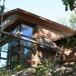 GRADE, elegant rustic, novelist home, Ridge House, Hudson River, forest views, woodland retreat, timber-imprinted concrete