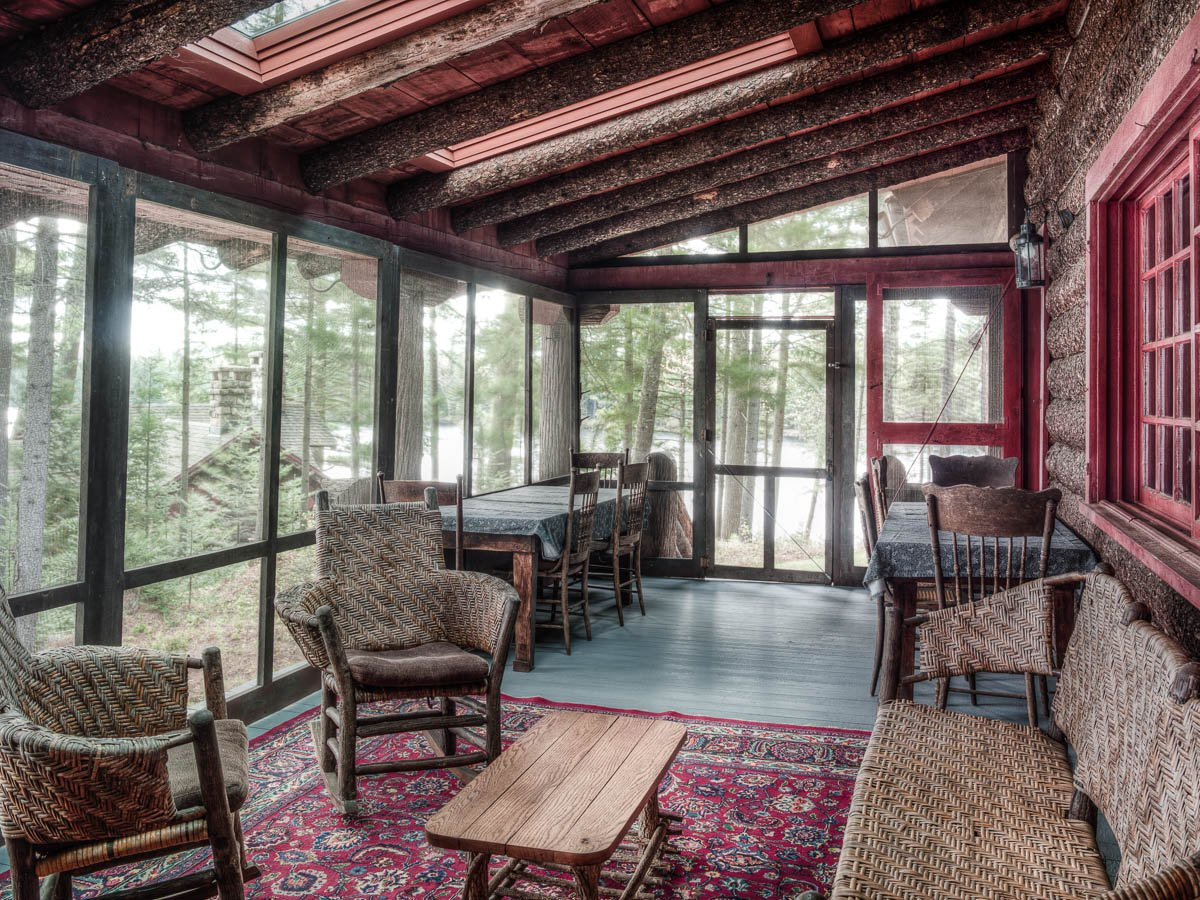 Camp Uncas, Adirondacks, JP Morgan vacation home, Camp Uncas Main Lodge porch