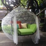 Richie Duncan, hanging geodesic domes, Kodama Zomes, customizable floating furniture, Sacred geometry, Buckminster Fuller, hanging cocoon, summer furniture
