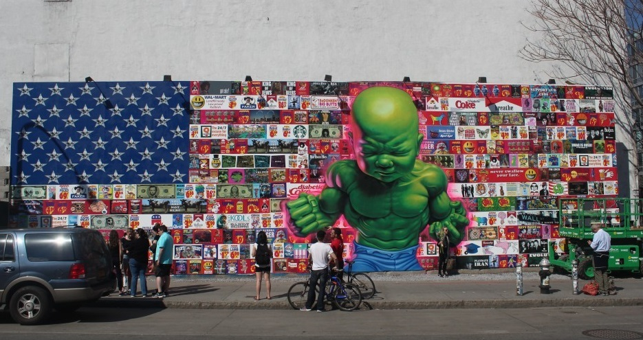 Temper Tot, Ron English, Houston & Bowery wall