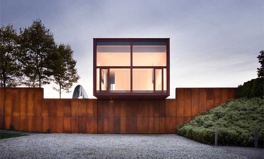 Thomas Phifer and Partners, glazed pavilion, geometrical wooden cabins, Millbrook House, geometrical modern home, Hudson River, cluster of buildings,