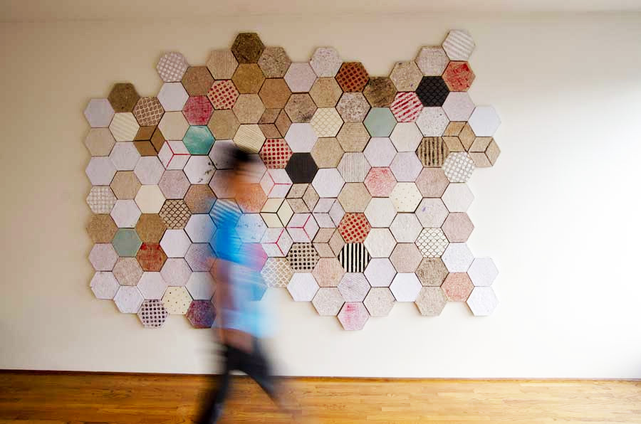 Dear Human's hexagonal recycled paper tiles Wallpapering