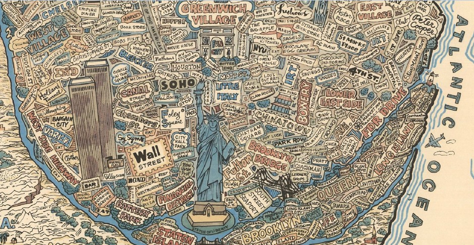 nyc worldview, nyc as center of the world, greatest city on earth, map of nyc