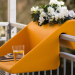 Michael Hilgers, balcony-desk, BalKonzept, outdoors desk, balcony table, Rephormhaus, recyclable polyethylene plastic, colorful design