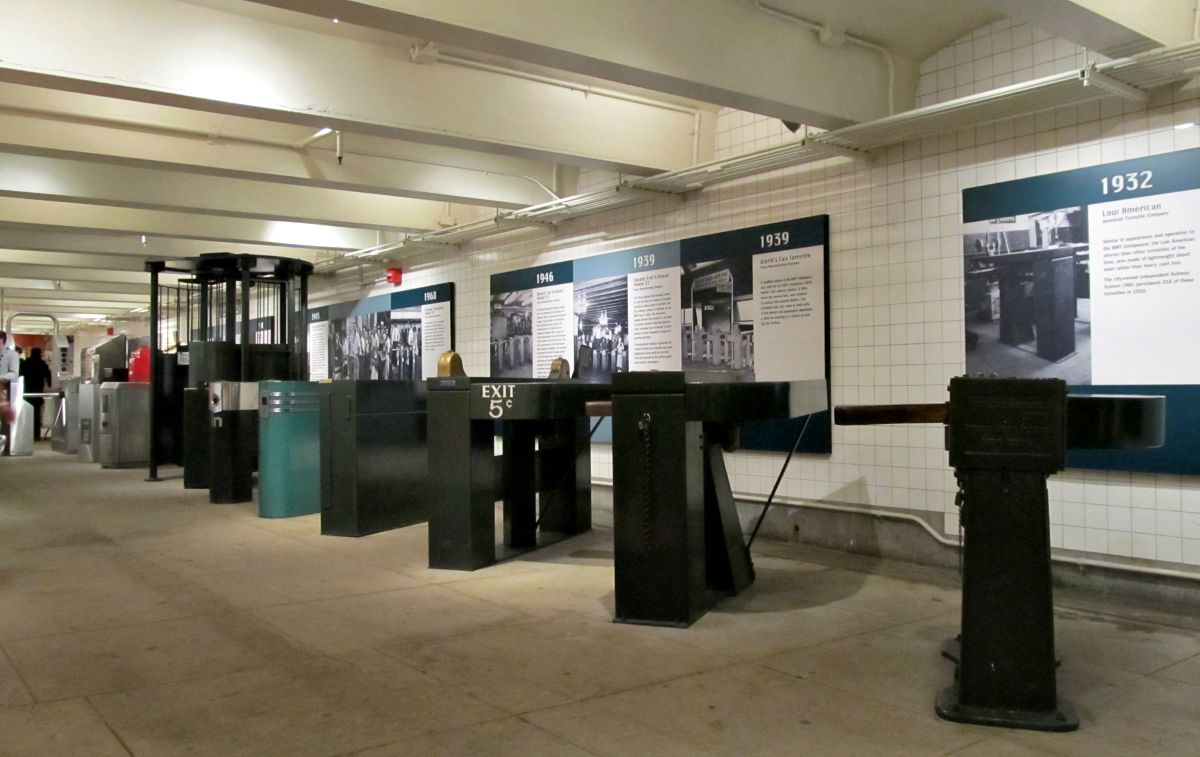 New York Transit Museum, turnstile exhibit, history of NYC subway, Brooklyn museums