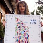 Alfalfa Studio Iconic New York Map Poster, Alfalfa Studio, Iconic New York Map Poster, new york landmarks poster