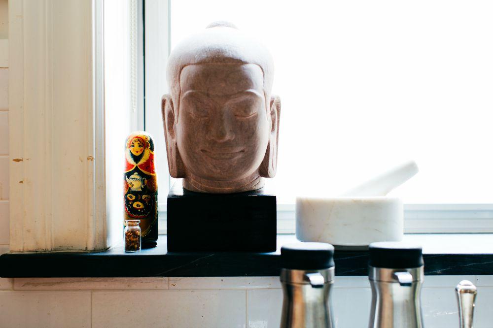 Carlos Alimurung, King Jayavarman VII stone head sculpture and nesting dolls