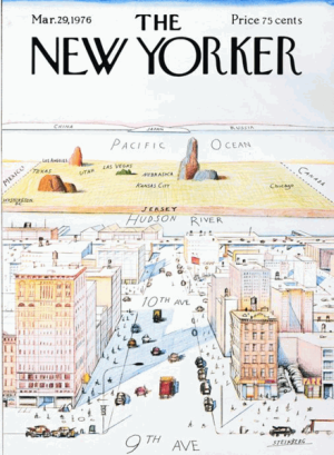 Saul Steinberg, View of the World from 9th Avenue, New Yorker covers, NYC far west side