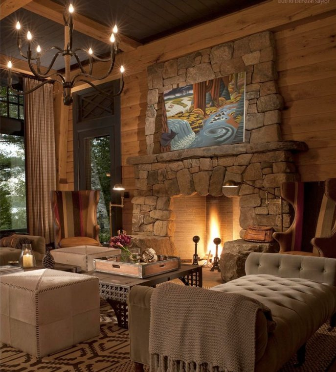 An incredible private hideaway asks million in the adirondacks 6sqft - Incredible central fireplace ideas ...