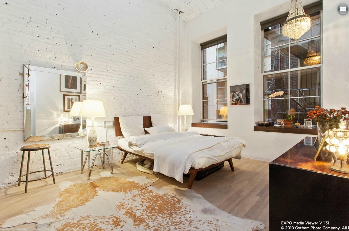 11 West 20th Street, bedroom, exposed brick