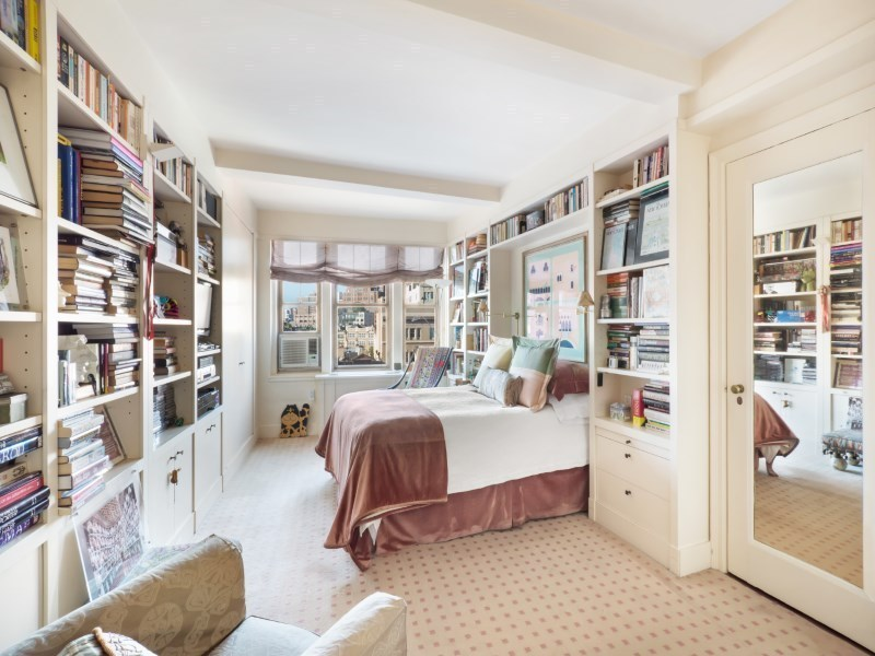 302 West 12th Street, master bedroom, bookshelves, condo